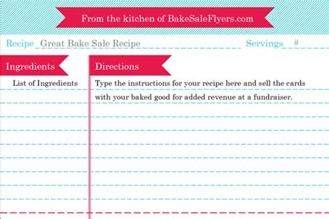 recipe card template bake sale flyers  flyer designs