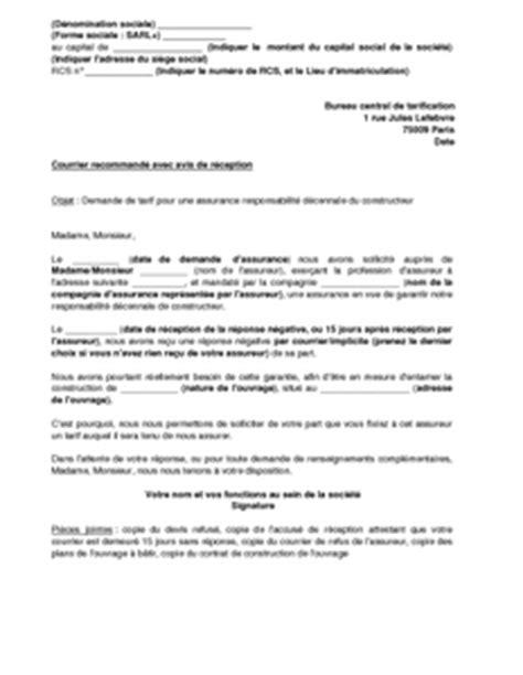 bureau de tarification modele lettre assurance dommage ouvrage contrat de
