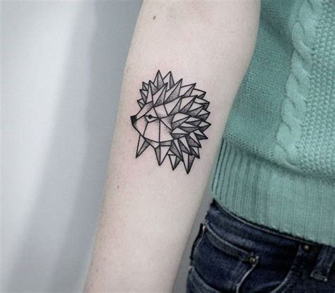 interesting girly origami hedgehod tattoo  arm