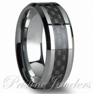 tungsten carbide black carbon fiber ring silver mens With mens wedding ring silver