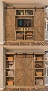 Open the barn doors for an entertainment center and close for Barn door style entertainment center