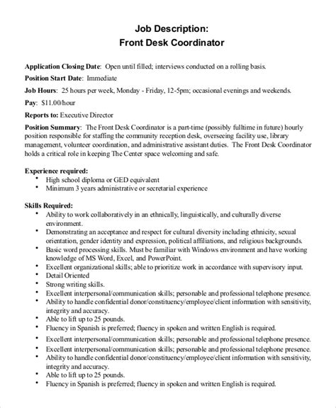 front desk associate job description job description for front desk hostgarcia