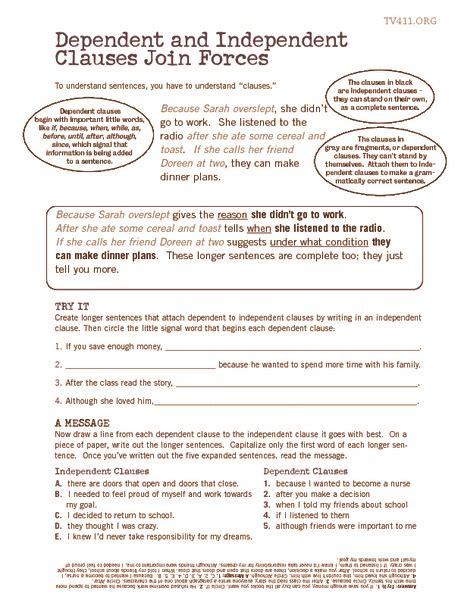 worksheets independent clause worksheet opossumsoft