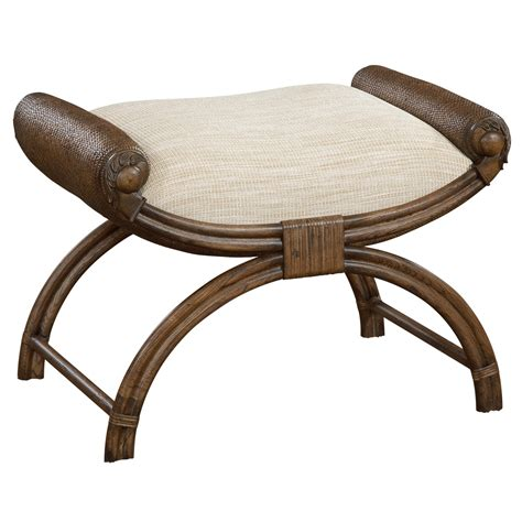 East India Accent Bench With Upholstered Seat By Fine