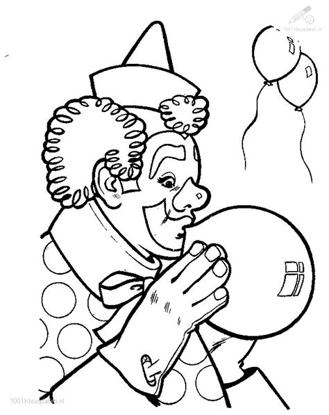 Kleurplaat Clowsgezicht by Kleurplaat Clown Met Ballon