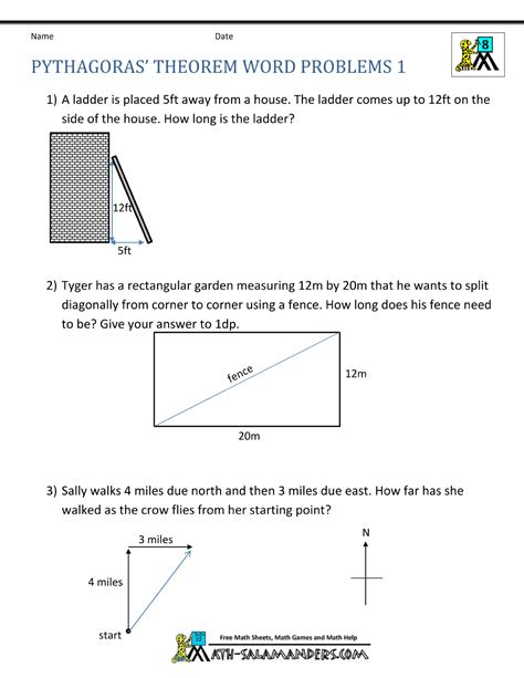pythagoras theorem questions word problems  math