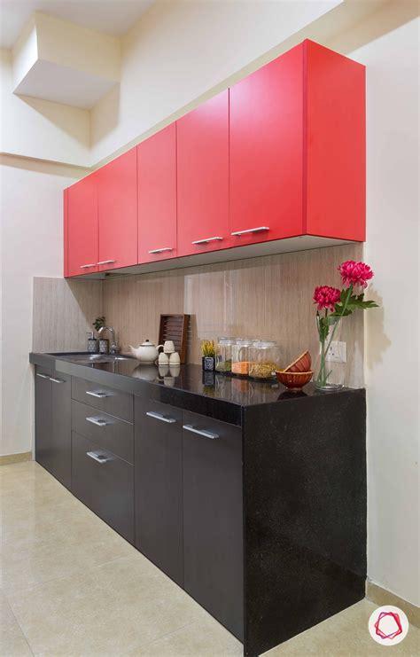 modular kitchen  pop colors black red   beige