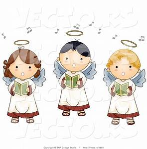 Cartoon Vector of 3 Singing Angel Boys and Girls ...