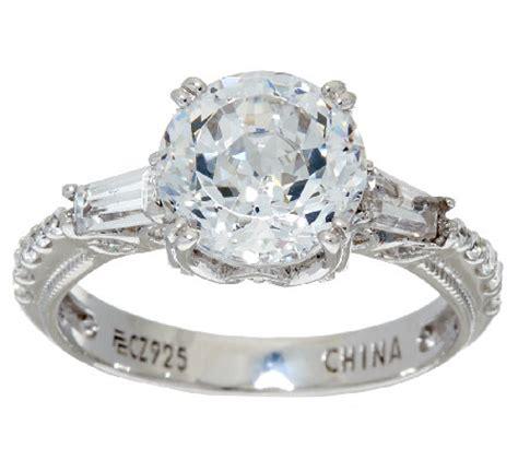 Diamonique 100facet Ring, Platinum Clad — Qvccom