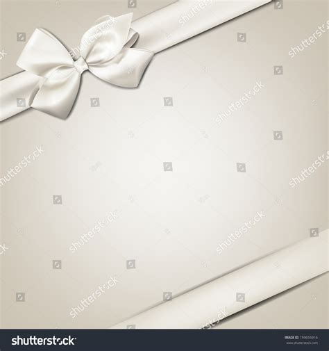 gift white ribbon bow  beige stock vector