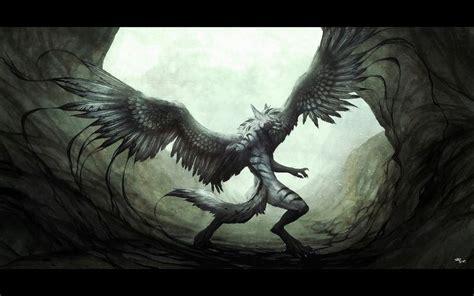 Dark Wolf, Black, Dark, Wings, Wolf