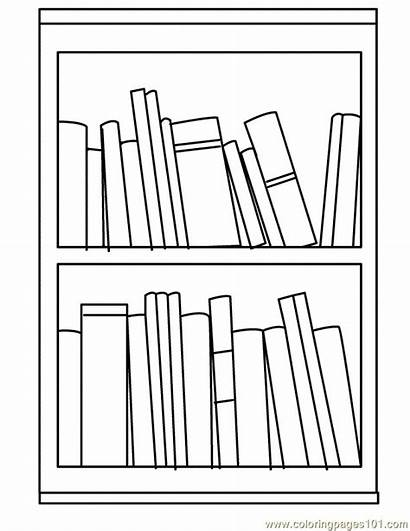 Bookshelf Clipart Coloring Shelf Books Printable Bullet