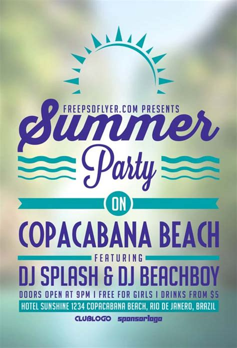 summer flyer templates free download summer beach party free flyer template