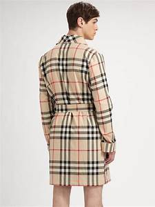 burberry check robe in natural for men lyst With robe burberry fille