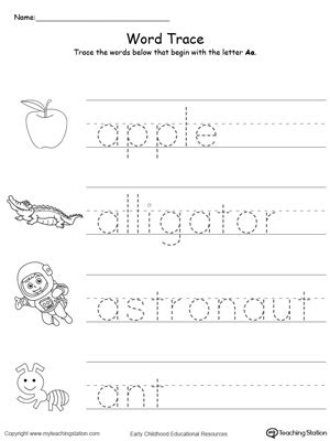 trace words    letter sound