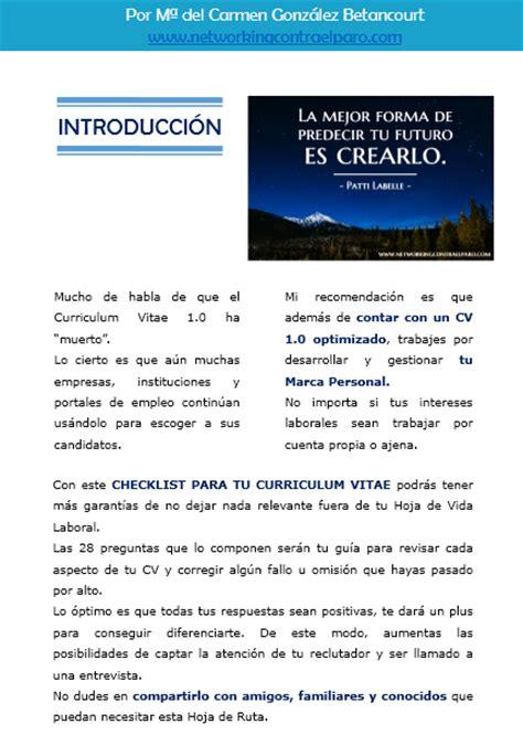 Cv Resume Checklist by Checklist Para Curriculum Vitae Incluye Plantilla Pdf