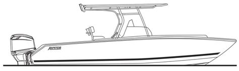 Boat Drawing Lines by Center Console Fishing Boat Drawing