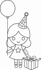 Coloring Birthday Drawing Pages Happy Clip Drawings Clipart Line Sweetclipart Birthdays Cliparts Transparent Colorable Characters sketch template