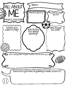 worksheets for physical education class all about me physical education by gormley tpt