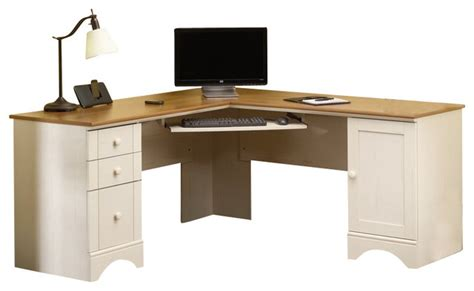 sauder harbor view corner computer desk sauder harbor view corner computer desk in antiqued white