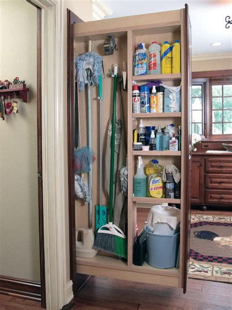 pull  broom storage  shelving units  house