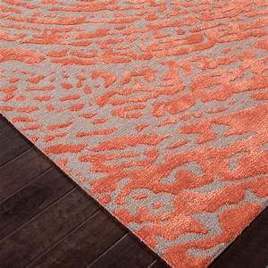 Grey and peach area rug uniquely modern rugs for Modern carpet pattern red