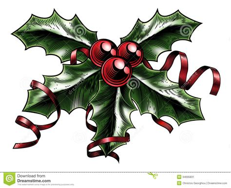 Vintage Christmas Holly Illustration Stock Vector