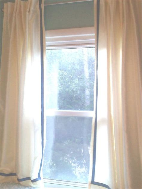 white curtain with grosgrain ribbon trim color options