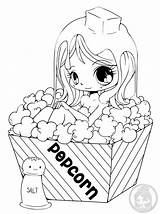 Popcorn Coloring Yampuff Bath Skin Try Says Adult Childhood sketch template