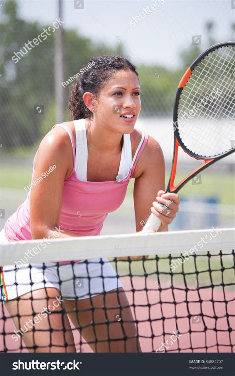 young female tennis player outdoor playing stock photo  shutterstock