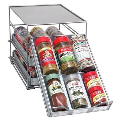Lipper Spice Rack by Lipper 3 Tier Tilt Spice Drawer Silver Products In