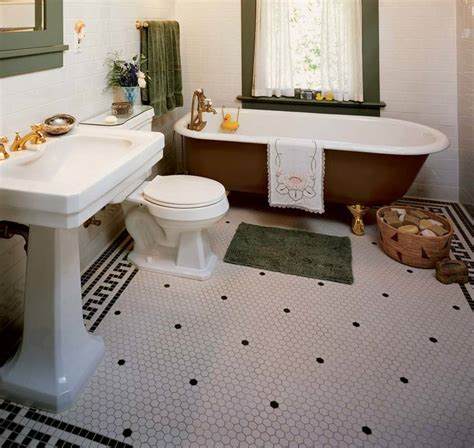 small hexagon bathroom tiles the floor is a key to style arts crafts homes and the revival arts crafts homes and the