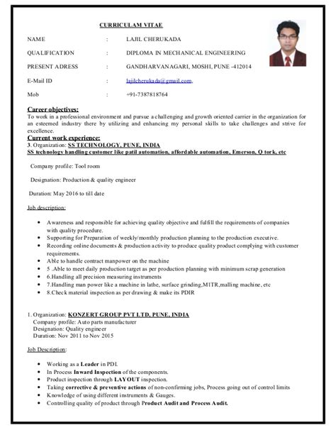 experience resume for quality enginer lajil cherukada resume 4 years experience in quality