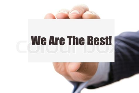 Hand Holding Card With Inscription We Are The Best Stock