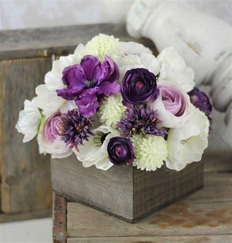 faux wedding flowers    real purple wedding