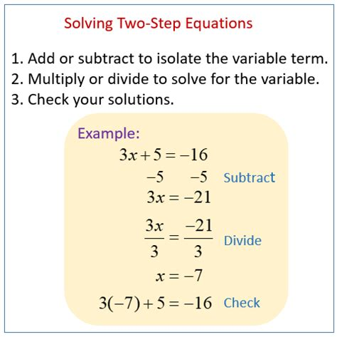 solving  step equations solutions examples