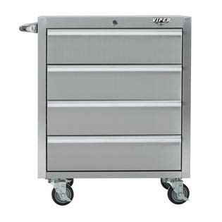 Stainless Steel Rolling Cabinet by Viper Tool Storage 26 Inch 4 Drawer 304 Stainless Steel