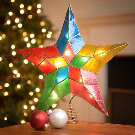 multi colored star tree topper kurt adler 14 inch lighted 5 point capiz multicolor tree topper walmart