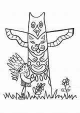 Totem Native Coloring Sheet Pole Coloriage Kleurplaat Yakari Cowboys Indien Indianen Kleurplaten Thema Cowboy Coloriages Sheets Totempaal Template Thanksgiving Petit sketch template