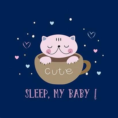 Cat Lettering Sleeping Mug Sleep Vector Cup