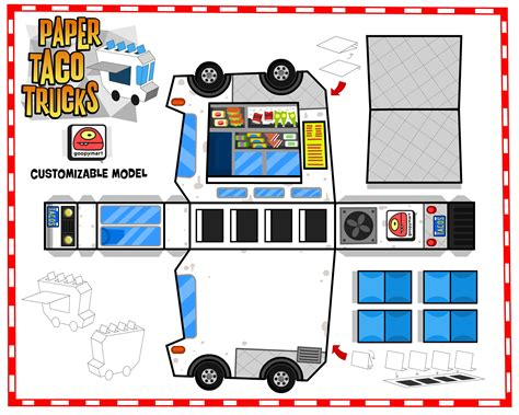 food papercraft template paper taco trucks paper fr