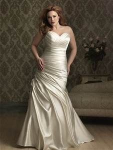 mermaid sweetheart court train ivory silk satin plus size With ivory satin wedding dress