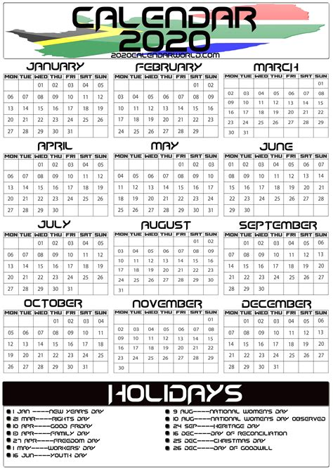 south africa  calendar  holiday printable template