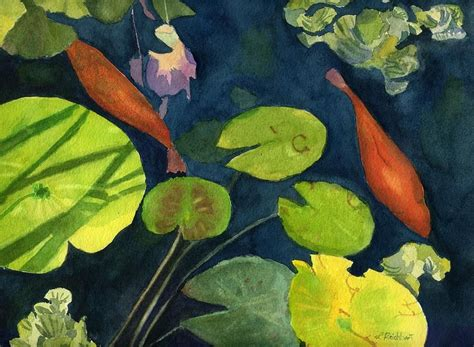 playing koi  lynne reichhart  images watercolor fish