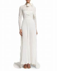 self portrait long sleeve pleated lace trim gown in white With robe fourreau longue