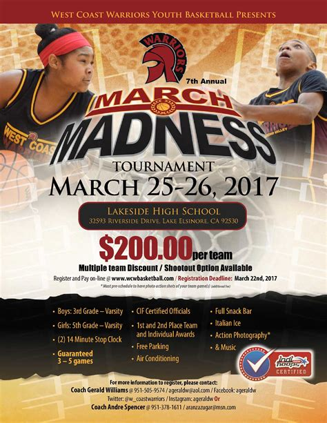 wcw  annual march madness tournament aau basketball