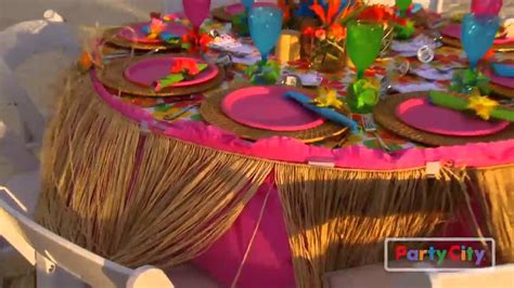 tropical table ls cheap luau rehearsal dinner tips from party city youtube