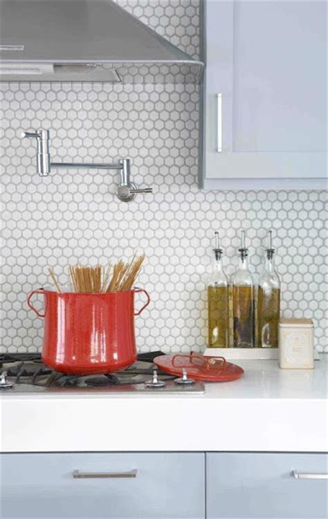 Pennyround Tile Backsplash And Gray Cabinets  Home D E S