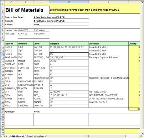 bill  materials templates word excel fomats
