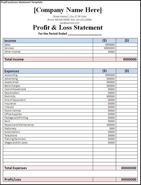 Profit And Loss Template 139 Best Images About Profit And Loss Statements On